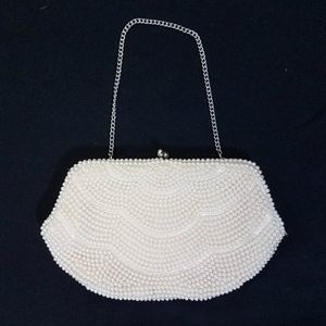 Vtg pearly beaded handbag